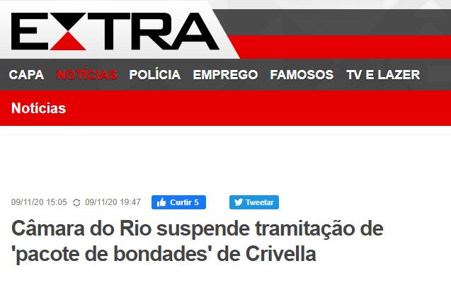 Câmara do Rio suspende tramitação de 'pacote de bondades' de Crivella