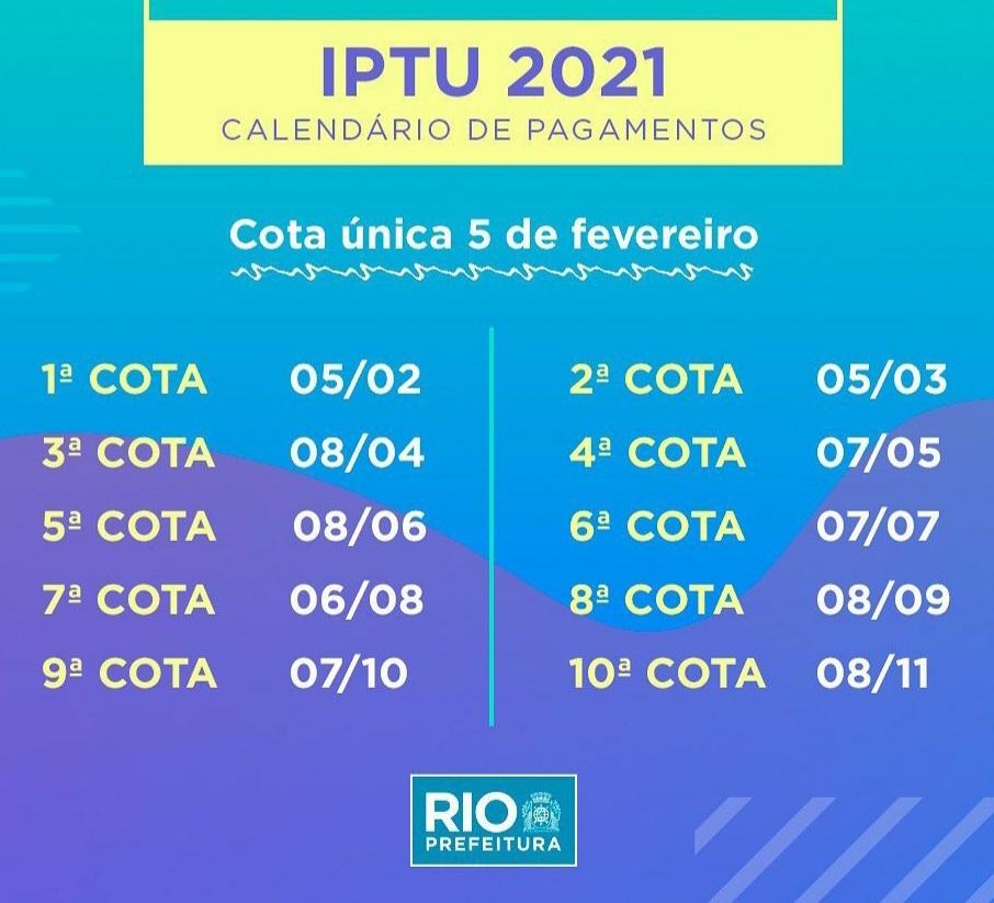 Prefeitura do Rio divulga calendário do IPTU 2021